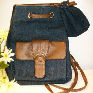 Handbags - Blue Denim Backpack Shoulderbag Saddle Brown Trim